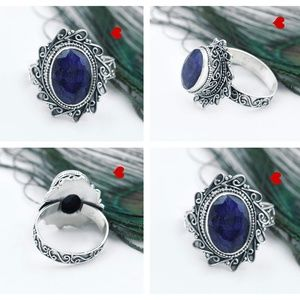 Natural Sapphire Sterling Silver Bohemian Rings